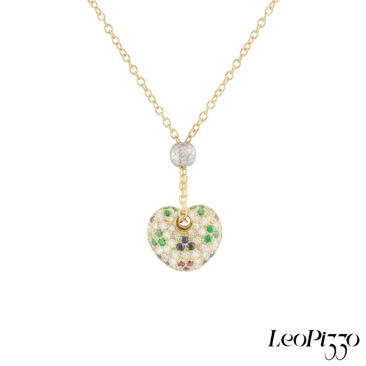 Leo Pizzo Yellow Gold Multi-Gemstone Heart Pendant
